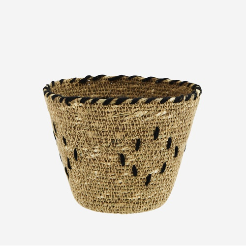 Madam Stoltz Seagrass Basket w/ embroidery